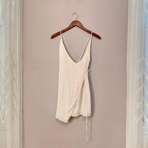 American Threads White Linen Wrap Dress